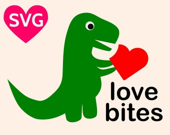 Love Bites SVG design for Valentine's Day featuring an adorable baby Dinosaur eating a heart