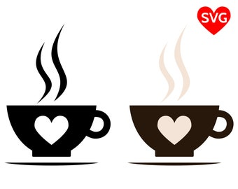Hot Coffee Cup SVG File for Cricut and Silhouette, printable Smoking Coffee Cup with Saucer clipart
