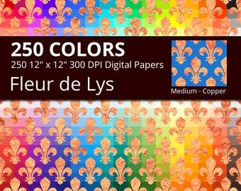 Copper Fleur de Lis Digital Paper Pack, 250 Colors Medieval Digital Paper Copper Fleur de Lys Crest, Medium Copper Fleur de Lis Pattern