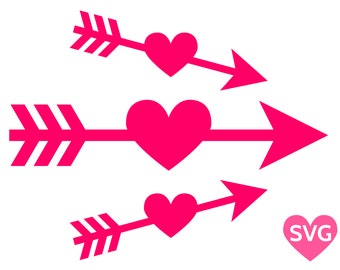 3 Heart Arrow SVG files, Arrow Through Heart SVG going straight, upwards and downwards
