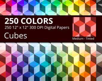 Tinted Cubes Digital Paper Pack, Rainbow Colors Geometric Digital Paper Cubes, 3D Cube Digital Paper Geometric Pattern, Cube background