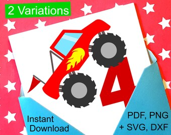 Monster Truck 4th Birthday SVG and Printable Clipart to make a 4th Birthday Shirt, Gift, Card, Invite or Invitations for boys