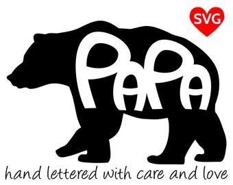 Papa Bear SVG Files for Cricut and printable clipart to make Papa Bear shirts, hats, mugs, vinyl decals and gifts