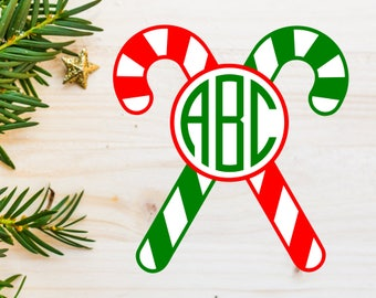 Candy Cane Monogram Frame SVG file for Cricut & Silhouette, Green and Red Candy Canes SVG Monogram Frame, Christmas Monogram Frame SVG, dxf
