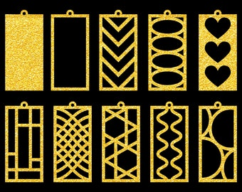 10 Rectangle Earrings SVG Files to make DIY rectangle shaped earrings and pendants