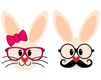 Easter Miss and Mr Hipster Bunny SVG files for Cricut and Silhouette, a very cute couple of Easter Hopster Bunnies!