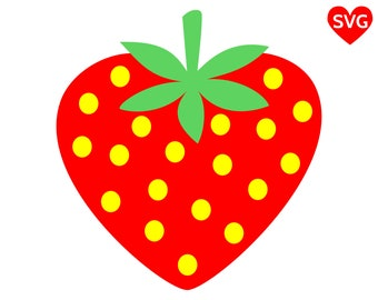 A big, red, sweet and juicy heart shaped Strawberry SVG File for Cricut and Silhouette to make shirts and cards for this Summer
