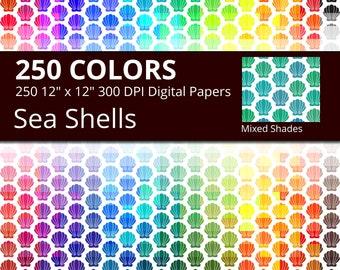 Mixed Shades Shells Digital Paper Pack, Rainbow Colors Digital Paper Sea Shells, Beach shell Digital Paper,Mixed Tints Sea Shell Pattern