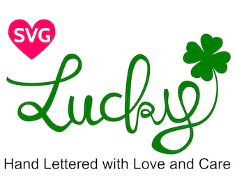 Handwritten Lucky and Shamrock SVG design for St Patricks Day