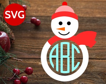 SVG Snowman Monogram Frame SVG cut file for Cricut & Silhouette - Snowman Circle Monogram Frame SVG - Christmas Monogram svg files