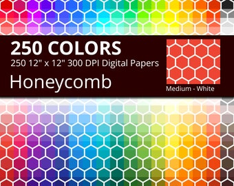250 White Honeycomb Digital Paper Pack with 250 Colors, Rainbow Colors White Honeycomb Pattern Scrapbooking Paper with Hexagonal Tiles