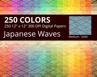 250 Golden Japanese Sea Waves Digital Paper Pack with 250 Colors, Rainbow Colors Gold Waves Pattern Digital Scrapbooking Paper Download