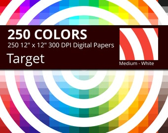 250 White Target Digital Paper Pack with 250 Colors, Rainbow Colors Medium White Target Concentric Circles Pattern Scrapbooking Paper