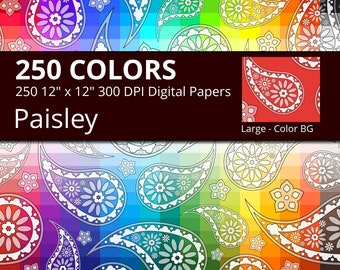 Flower Paisley Digital Paper Pack, 250 Colors Floral Digital Paper Paisley Pattern, Large Seamless Paisley Background, Paisley Printable