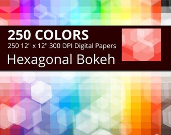 Hexagonal Bokeh Digital Paper Pack, 250 Colors Bokeh Hexagons Digital Paper Bokeh Hexagon Background, Seamless Digital Hexagon Backdrop