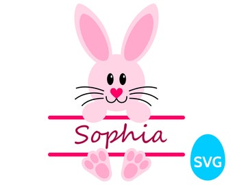 Easter Bunny Split Monogram Frame for Girls SVG file and printable clipart