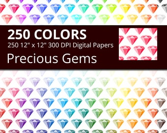 Precious Gems Digital Paper Pack, 250 Rainbow Colors Precious Stones Digital Paper Diamond, Ruby, Sapphire, Emerald, Amethyst, Topaz