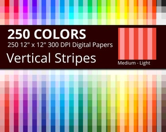 250 Vertical Stripes Digital Paper Pack with 250 Colors, Rainbow Colors Medium Light Vertical Stripes Pattern Scrapbooking Paper Download