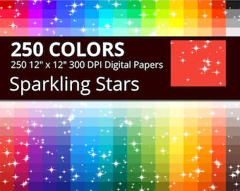 250 Sparkling Stars Digital Paper Pack with 250 Colors, Rainbow Colors Glitter and Sparkle Pattern Scrapbooking Paper Download