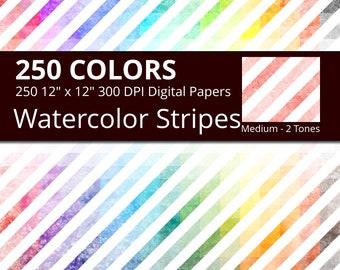 Watercolor Diagonal Stripes Digital Paper Pack, 250 Geometric Digital Paper Stripes in Rainbow Colors, Diagonal Stripes Watercolor Texture