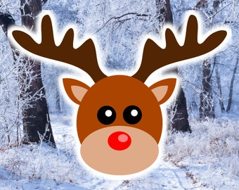 Reindeer Face SVG file, a very cute  Rudolph Head SVG design for Cricut & Silhouette