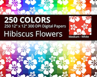 250 White Tropical Hibiscus Flowers Digital Paper Pack with 250 Colors, Rainbow Medium White Hibiscus Floral Pattern Scrapbooking Paper
