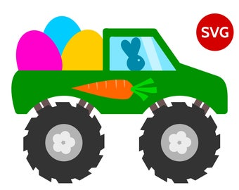 Easter Monster Truck SVG file with Easter Bunny driving a Monster Truck full of Easter Eggs printable clipart and SVG cut file