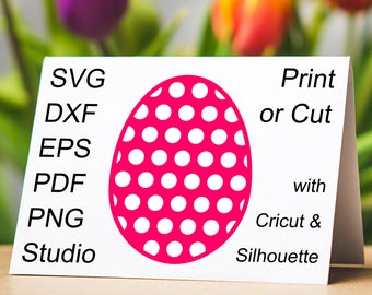 Easter Egg with Dots SVG file and printable clipart to make Easter cards, invites and gifts