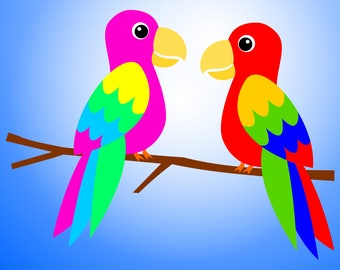 Two parrots sitting and talking on a branch. Tropical SVG files to make invitations for Tropical Birthday parties