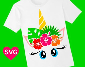 Tropical Unicorn Face SVG file with beautiful Hibiscus and Tropical Leaves in her mane