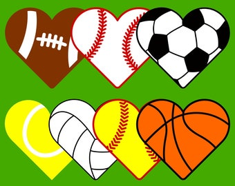 7 Sports Hearts SVG files for Cricut & Silhouette : heart shaped balls for basketball, volleyball, tennis, softball, baseball, soccer
