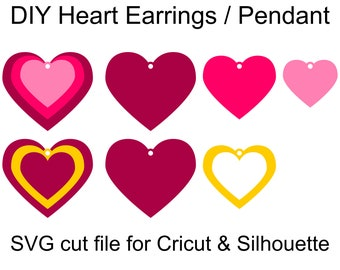 Stacked Heart Earrings SVG files and DIY Jewelry templates to make lovely Heart Earrings and matching Heart pendant
