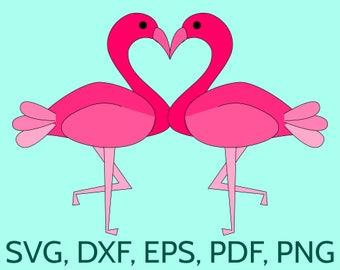 SVG Flamingo Couple - Love Flamingoes. Cute kissing flamingo birds making an heart! Cut file for Cricut & Silhouette for Wedding Cards etc.