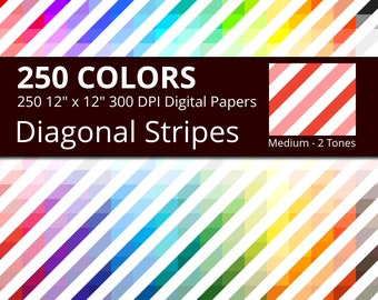 250 Tinted and White Diagonal Stripes Digital Paper Pack with 250 Colors, Rainbow Colors Lightly Colored and White Diagonal Stripes