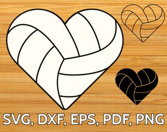 Volleyball Heart SVG designs - Volleyball Love SVG cut files for Cricut & Silhouette - Volleyball SVG clipart