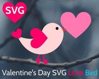 Love Bird SVG Valentine's Day SVG cut file for Cricut & Silhouette, Valentines SVG, Valentine svg, Valentine's Day svg files, Love bird dxf