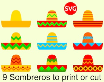 9 Sombrero SVG Files for Cinco de Mayo invites and decorations