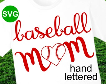 Baseball Mom SVG File with heart shaped baseball to make Baseball shirts and gifts