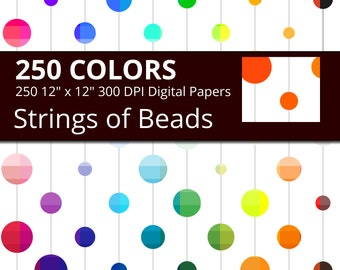 String Beads Digital Paper Pack, Mixed Shades Bead Digital Paper Strung Beads, Scrapbooking Paper in 250 Colors with Tinted Bead Strands