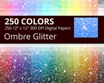 Ombre Glitter Digital Paper Pack, 250 Colors Digital Glitter Ombre Texture Scrapbook Paper Download, Rainbow Glitter Digital Papers