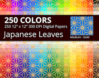 250 Golden Japanese Leaves Digital Paper Pack with 250 Colors, Rainbow Colors Gold Leaves Asanoha Pattern Digital Scrapbooking Paper