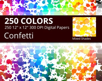 Confetti Digital Paper Pack, 250 Colors Digital Paper Confetti Dots, Mixed Shades Confetti Sprinkles, Party Digital Paper