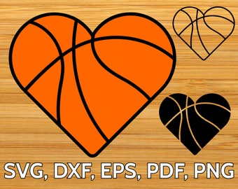 Basketball Heart SVG Cut File for Cricut & Silhouette, Heart shaped Basketball Ball SVG clipart design, Basketball SVG template