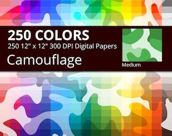 Camouflage Digital Paper Pack, 250 Colors Camo Digital Paper Camouflage Pattern, Medium Camo Design, Camo Background, Digital Camo Decor