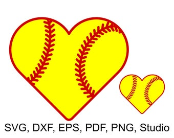 Softball Heart SVG file for Cricut & Silhouette, Heart shaped Softball with laces SVG cut file and clipart