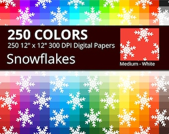 Snowflakes Digital Paper Pack, 250 Colors Snow Flakes Christmas Digital Paper, Winter Digital Papers, Ice Crystal Pattern Rainbow Papers