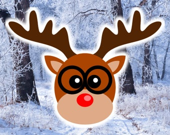 Reindeer Face with Glasses SVG file,  Dear Rudolph Head SVG cut file design for Cricut, Deer Boy Clipart, Christmas gift ideas for boys