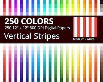 250 White Vertical Stripes Digital Paper Pack with 250 Colors, Rainbow Colors Medium White Vertical Stripes Scrapbooking Paper Download