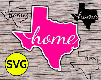 Texas Home SVG Cut File for Cricut & Silhouette - Texas SVG Outline Clipart - Texas State Svg Design to make Texan Gifts for TX lovers
