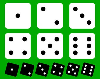 Set of 12 assorted dice SVG files, black on white and white on black dices to make cards, shirts and gifts for gamblers and players